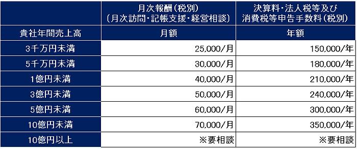月次報酬、決算申告料の表