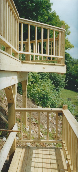 Extended deck on hillside
