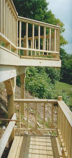 Extended deck on hillside
