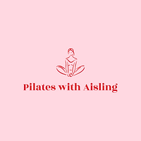 Pilates with Aisling Logo. Pink background with red text and woman sitting.