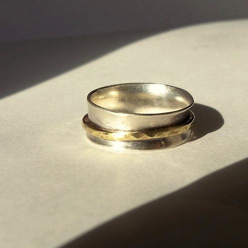 Silver Brass Spinner Ring