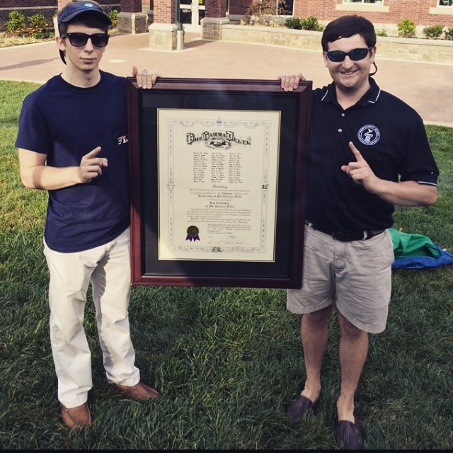 Brothers _phigamsailor and _thejasonsharpe with the charter! #5thyearseniors #betanu