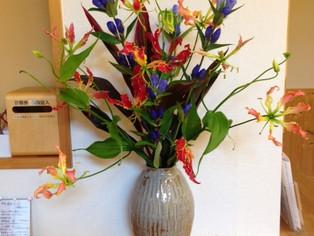 今日の花 リンドウ グロリオサ ドラセナ