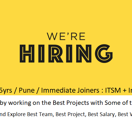 We actively seek a ServiceNow Developer @ Pune