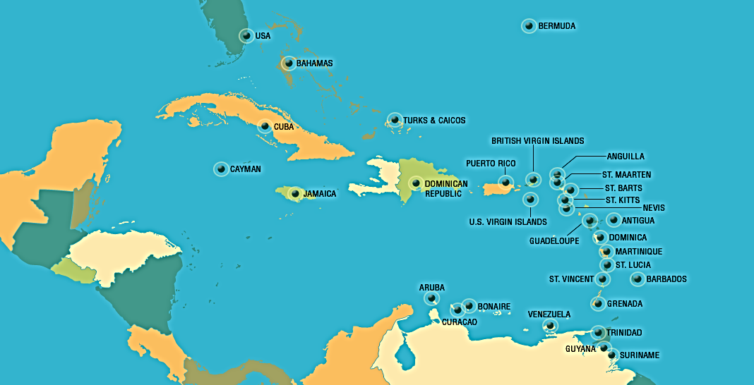 Marine fuel in Caribbean ports, ports served by Caribbean Fuels, MGO, ULSD, IFO, ULP, ports for yachts, containerships, cargo ships, reseach vessels, military