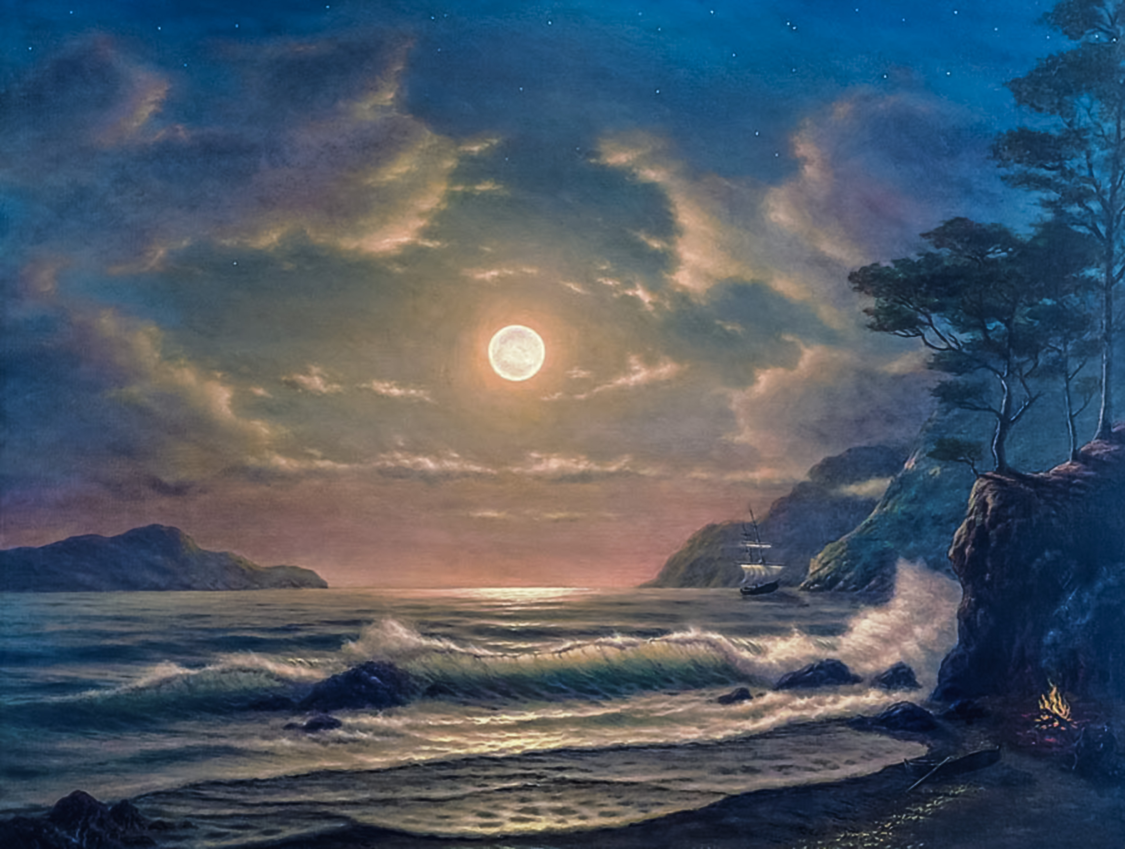Moonrise Over Pacific30x4007