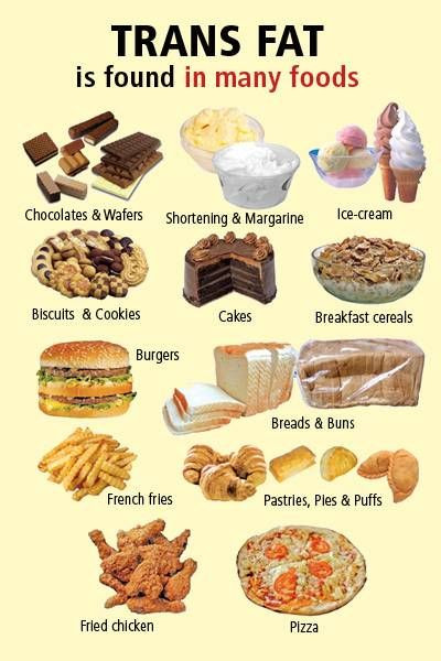 Pastries like cake, pizzas, fries, ice-cream, chocolates contain significant amount of Transfat. Eat them as little as possible
