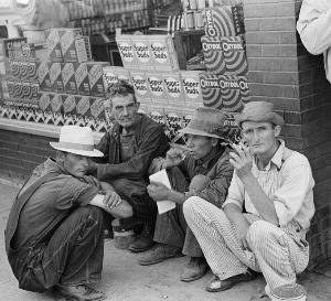 American western men doing full squat