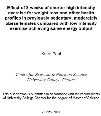 Master's Degree Thesis on HIIT