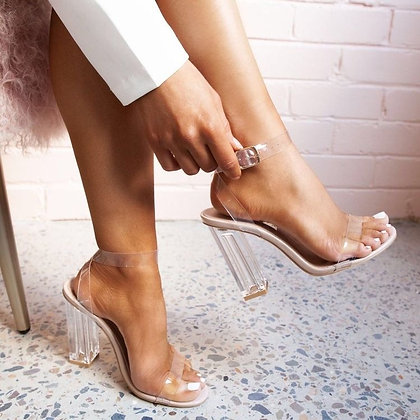 Mila Perspex Block Heel In Nude Patent