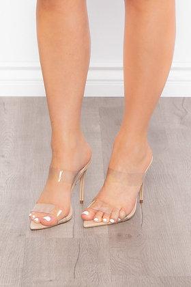 Viviana Transparent High Heel Slip on Mules