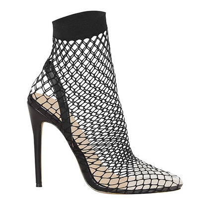 Kaliah Clear Fishnet Heels