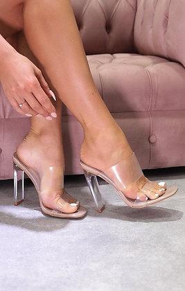 Lisa Peep Toe Perspex Clear Heel Mule In Nude Patent