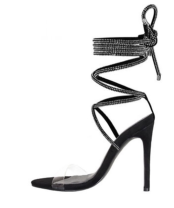 Yiani Clear Diamante Lace Up Heels