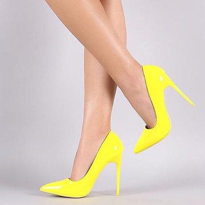 Kourtney Heel In Neon Yellow Patent