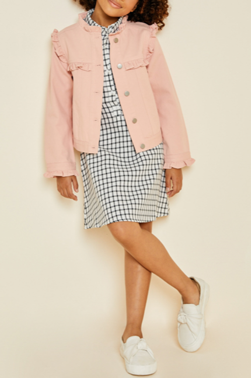 Ruffled Pink Denim Jacket