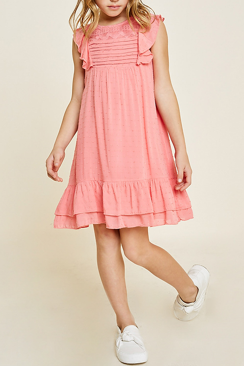 Lace Dobby Ruffle A-Line Dress