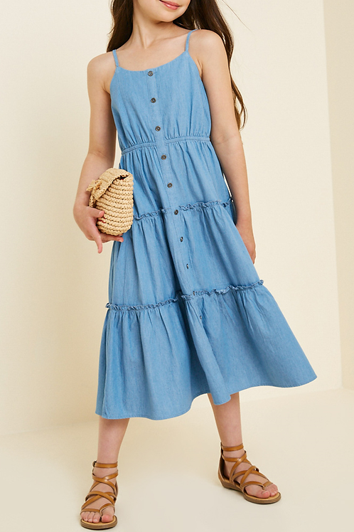 Denim Tier Button-Down Midi Dress