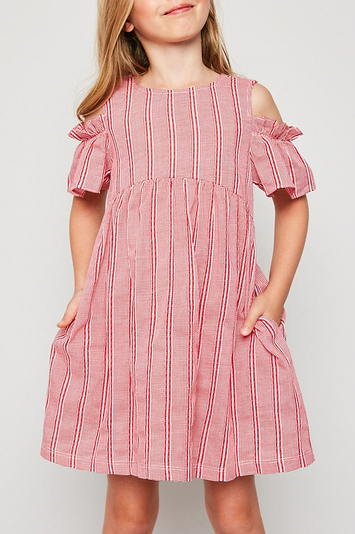 Ruffle Cold Shoulder Baby Doll Dress