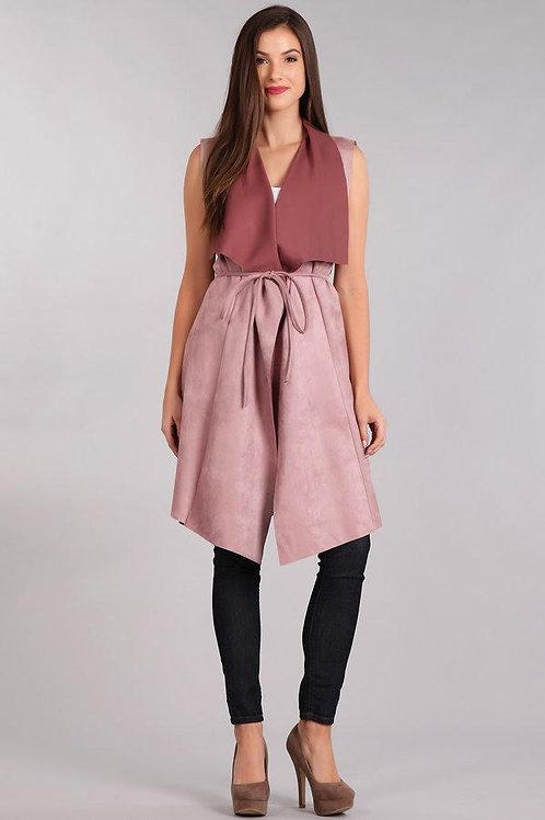 Knee length suede blazer vest