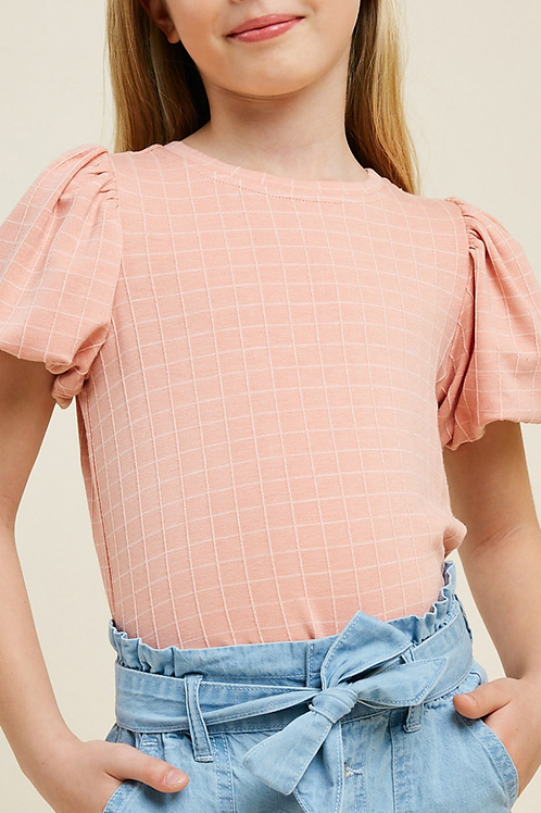 French Terry Bubble-Sleeve Top