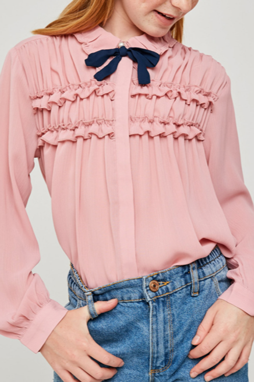 Ruffle Pink BowTie Top