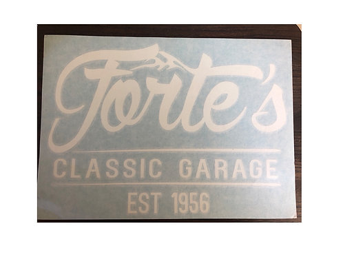 Forte's Classic Garage - White Sticker