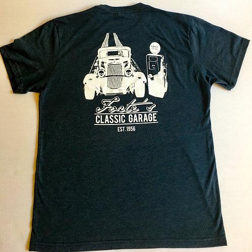Forte's Classic Garage - Navy T-Shirt W/Hot rod