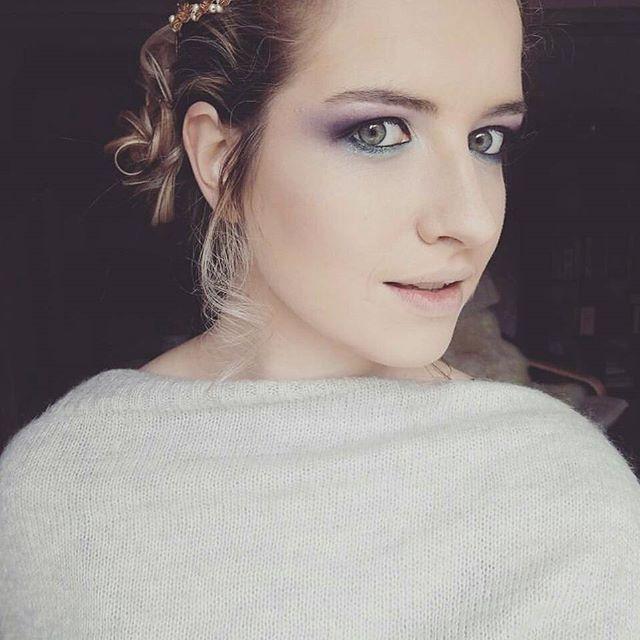 Maquillage vert et violet sur Gween