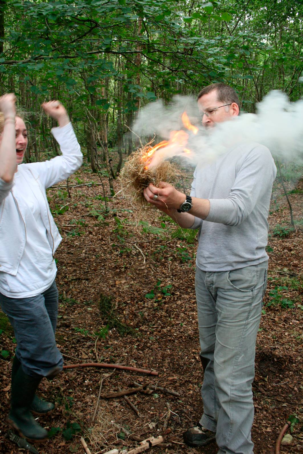 Learn to make fire on a survival day