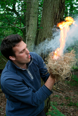 Fire lighting with the Bow Drill