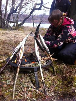 foraging feast mackerel on campfire