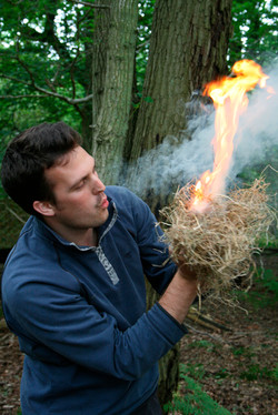 Succeed at fire by friction bow