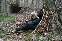 Family Bushcraft Shelter Woodland