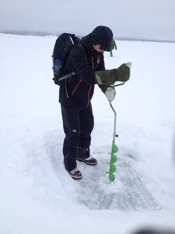 Ice fishing survival skills Sweden