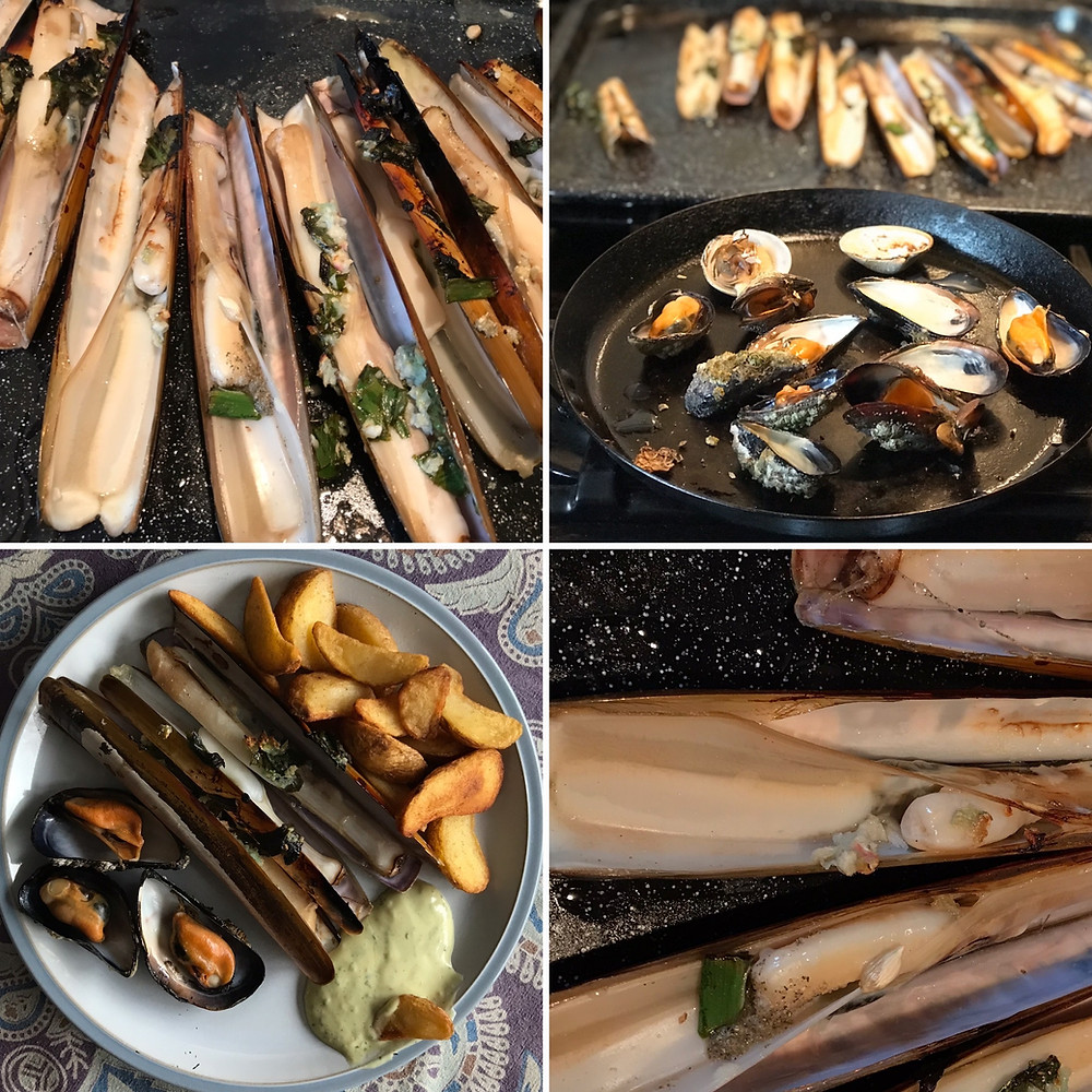 Our razor clam supper, grilled with butter and wild garlic!