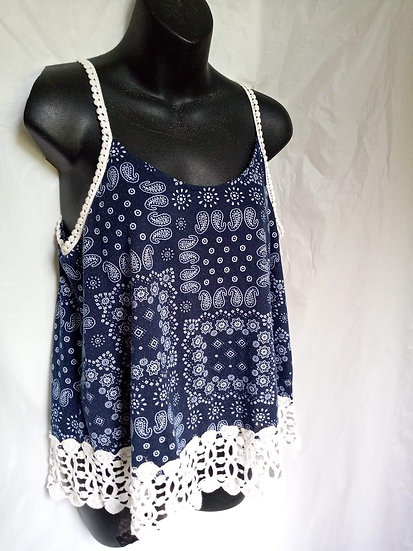 Boho Style Tank with Lace Trim