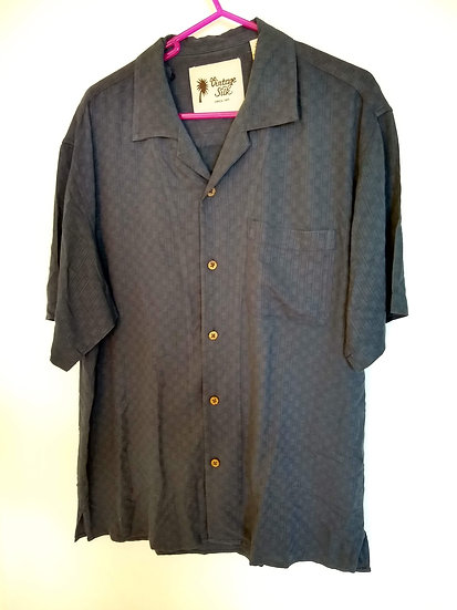 55% Silk Blue Button-Up Medium