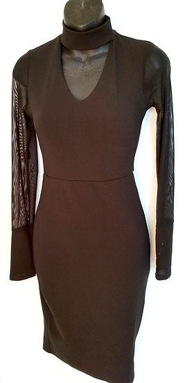 Black dress with lace sleeves front view.