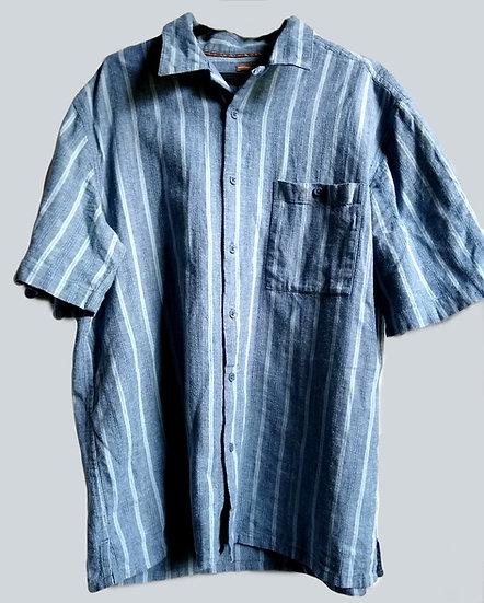 Large Blue Linen/Cotton Button-Up