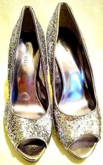 Nine West Silver Glitter Heels