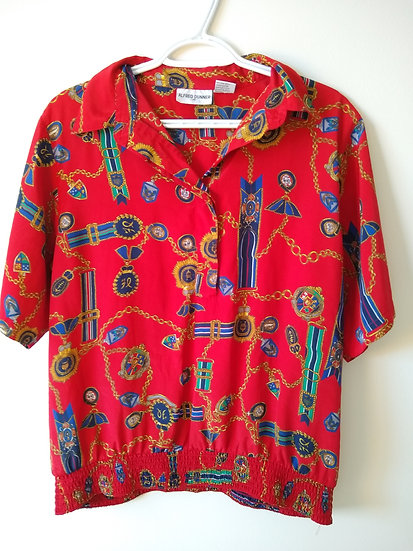Retro Red Print Shirt Large
