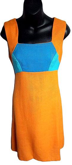 Bright Orange and Blue Dress