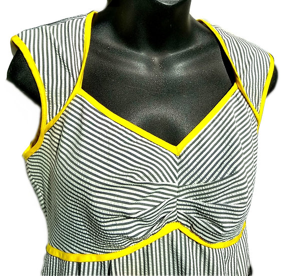 Dressbarn Yellow and Grey Stripped Dress
