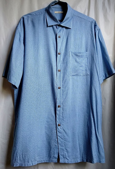 Blue Small Squares Button-Up
