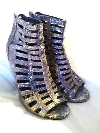 Silver heels side view
