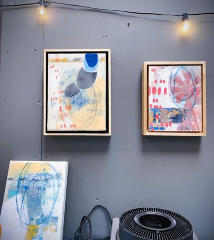 Three encaustic paintings