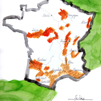Wine Map, France (not to scale)