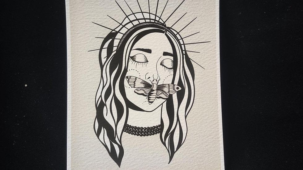 Moth Lady, Pearl Collar 5x7