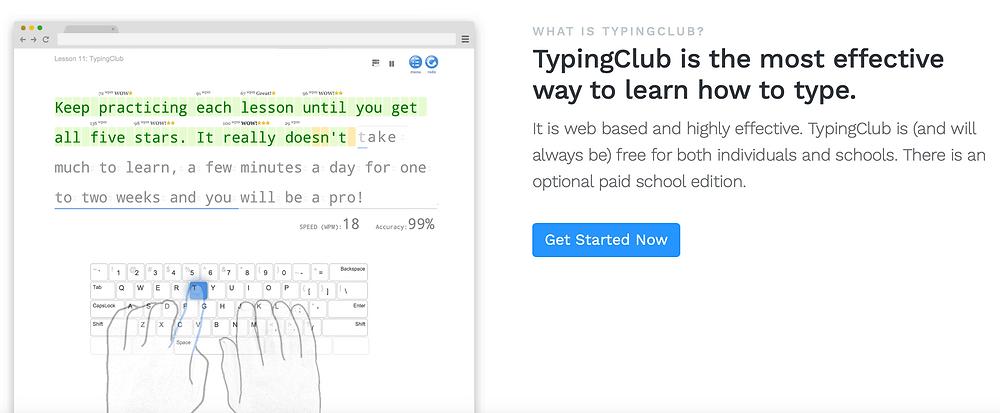 Screen ze strony typingclub